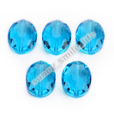 5pcs Lake Blue Glass Faceted Flat Oval Beads 20x16mm DIY Findings Spacer