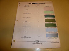 1961 AMC Dupont Duco DuLux Color Chip Paint Sample