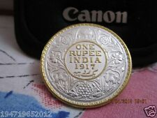 1917 British-India One Rupee Silver Heritage Coin Crafted & Decorated With Gold