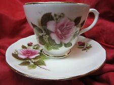 Vintage Fine English Bone China DUCHESS Pink Rose Bouquet Floral Cup&Saucer #386
