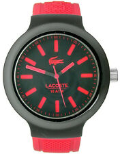 Lacoste 2010814 Borneo Black Dial Red Silicone Strap Men's Watch