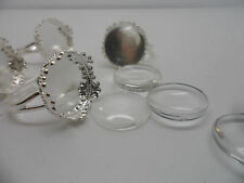 5 Vintage Plata Ajustable Anillo Pad, Base & 15mm Cabuchones ~ Anillo haciendo kit.retro