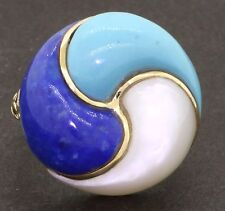 Vintage 14K gold beautiful lapis turquoise & Mother of Pearl cocktail ring size