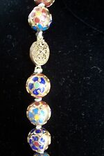 Antique China Cloisonne Necklace Huge Beads Finest Quality 32""