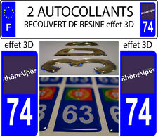 2 stickers plaque immatriculation auto TUNING DOMING 3D RESINE RHONE ALPES 74