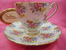 SHELLEY GEORGIAN CHINTZ   RIPON SHAPE  FOOTED CUP AND SAUCER  # 14278 GOLD TRIM