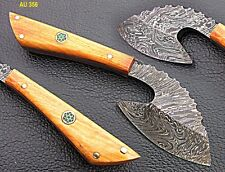 Beautiful Custom Hand Made Damascus Steel Mini Axe With Olive Wood Handle.