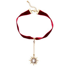 Modern Anthropologie Red Dangling Star Rhinestone Cloth Collar Necklace