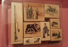 1996 Stampin' Up! Fishin' Stamp Set of 9 NEW UNused Creel Fishing Pole Cattails