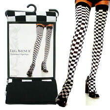 Leg Avenue Black and White Checkerboard Thigh Hights Stocking Leggings