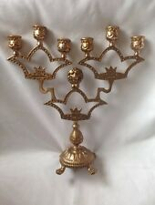 BEAUTIFUL SOLID BRASS CANDLESTICKS WITH 6 ARMS & LIONS LEGS