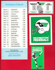 1984 USFL Washington Federals Schedules & Sticker