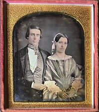BEAUTIFUL COUPLE PRETTY WOMAN HANDSOME MAN SKIN TINTED 1/6 DAGUERREOTYPE D329