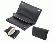 Blague a tabac/Tabatière - cuir véritable noir - avec Compartiment à disque