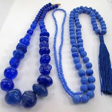 2 Beautiful vintage sapphire blue art glass necklaces