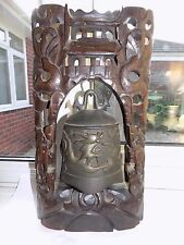 Buona antico cinese intagliata a mano legno scuro Temple Bell con filo intarsio 38 cm
