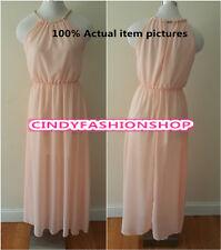 New Women Sleeveless Maxi Long Chiffon Beach Ball Gown Evening Party Dresses