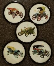 5 pieces collector tin plates antique cars automobiles