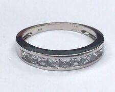 14K White Gold Princess Cut CZ .40 CTW Wedding Band Size 7.25