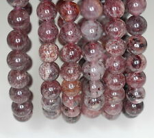 8MM RED STRAWBERRY LEPIDOCROCITE QUARTZ GEMSTONE GRADE AAA ROUND LOOSE BEADS 7""