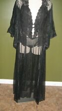 Vintage PANDORA by Chic Sheer Black Lace Nightgown Peignoir with Bed Jacket set