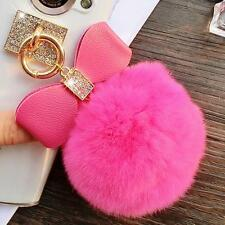 New Bling Diamonds Bow Ring Ball Tassel Clear Thin Soft TPU Back Case Cover Skin