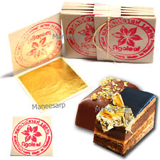 "100pcs 24K EDIBLE PURE GOLD LEAF DECORATE CAKE & FOOD LOVER ARTIST 1.18"" x 1.18"""