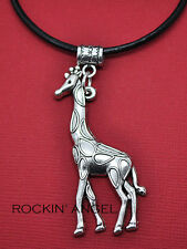 Antique Silver Plt Giraffe Pendant Leather Necklace Men Ladies Gift Zoology