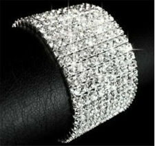 10 Rows Prom Wedding Bridal Shining Crystal Stretch Bracelet GP Silver XM085X