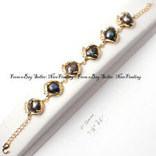 11-12mm black natural freshwater pearl yellow gold plated bracelet adjustable