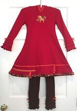 Custom Boutique Couture $184 Dala Horse Euro Pageant Knit Dress & Legging Set