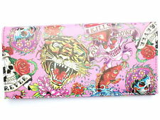 Pink Tiger Skull Heart Tattoo Rockabilly Ladies ID Card Holder Clutch Purse Gift