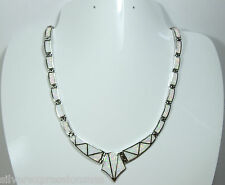 """Amazing White Fire Opal Inlay Genuine 925 Sterling Silver Link V Necklace 18"""""""