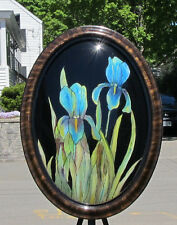 Reverse Painting Irises Iris Flower On Antique Oval Convex Glass Grace E Webster