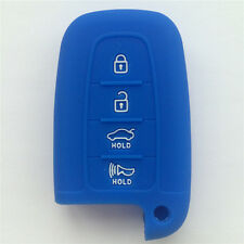 Dark Blue Silicone Remote Key Cover Holder Key Case Skin for HYUNDAI 4 Buttons