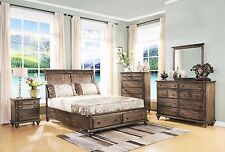 Casual Vintage Brown Finish Eastern King Bedroom 4pc Set Extra Storage Footboard