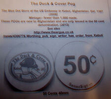 The Duck & Cover 50c Pogs from Kabul Embassy Afghanistan not AAFES