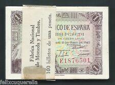 F.C. 100 BILLETES CORRELATIVOS 1 PESETA 1945 , SERIE E , S/C , FAJA F.N.M.T.