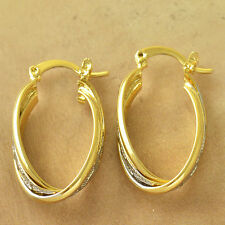 Fashion Womens Clip On Earrings white 14K gold filled vintage Hoop Earrings