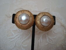 CHANEL vintage CC logos w/ pearl large size clip ON earrings - France