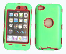 Built in Screen Protector Case / Cover for iPOD TOUCH 4 GREEN / RED Free Stylus