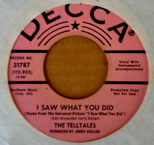 THE TELLTALES - I SAW WHAT U DID - DECCA 45 - PINK LBL PRO - GIRL GROUP - 1965