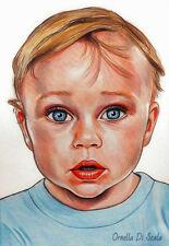 Ritratto da foto bambini bambino pastelli su cartoncino su commissione bambina