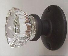 Fluted Crystal Glass & Oil Rubbed Bronze Passage Door Knob Set for Modern Door