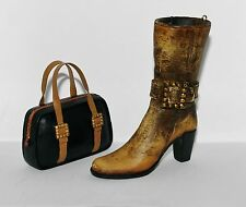 JC Penney CASUAL BOOT Brass Buckled Tan High Heel Shoe Black HANDBAG Ornaments