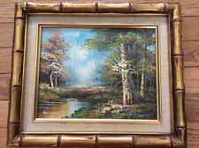 Vintage Estate Original Oil Painting Landscape wilderness Signed Schiller