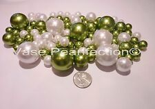 80 Jumbo &Assorted Sage Green Pearls/ Avocado & White Pearls Vase Fillers Value