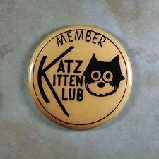 """Vintage Label Art Fridge Magnet 2 1/4""""  Black Cat Katz Kitten Club Member 1930;s"""