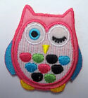 Owl Winking Pink Cute Childs Iron Sew on patch badge motif