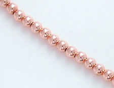 925 Sterling Silver Rose Gold Vermeil Style 30 Round Seed Beads 3 mm.
